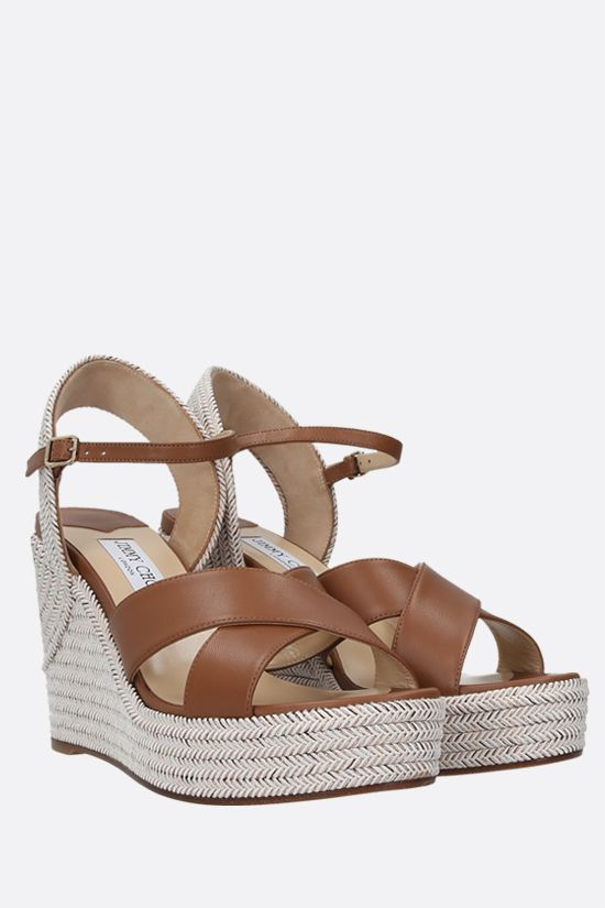 JIMMY CHOO: Dellena nappa and rope wedge sandals Color Brown_2