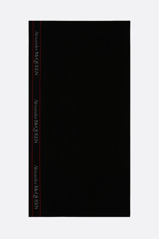 ALEXANDER McQUEEN: logo-detailed terry beach towel Color Black_2