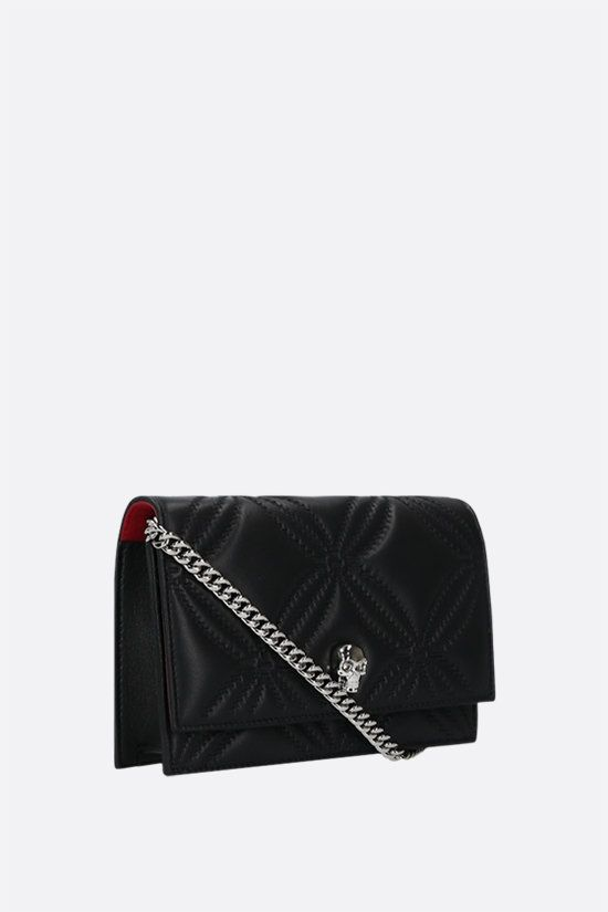 ALEXANDER McQUEEN: Skull mini quilted nappa crossbody bag Color Black_2