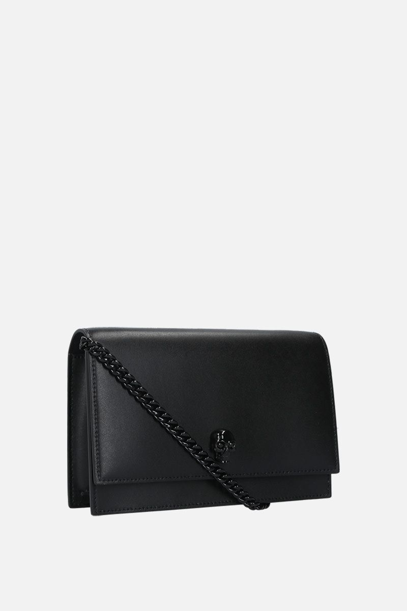 ALEXANDER McQUEEN: Skull mini smooth leather crossbody bag Color Black_2