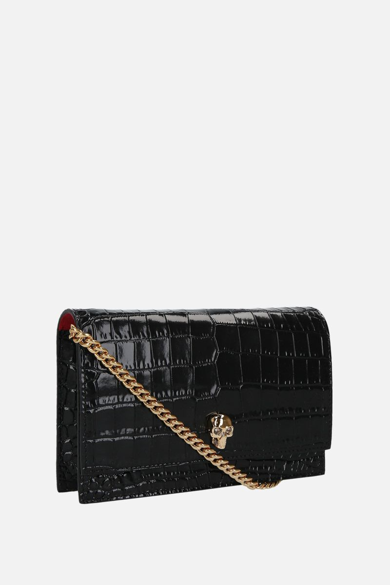 ALEXANDER McQUEEN: Skull mini crocodile embossed leather crossbody bag Color Black_2