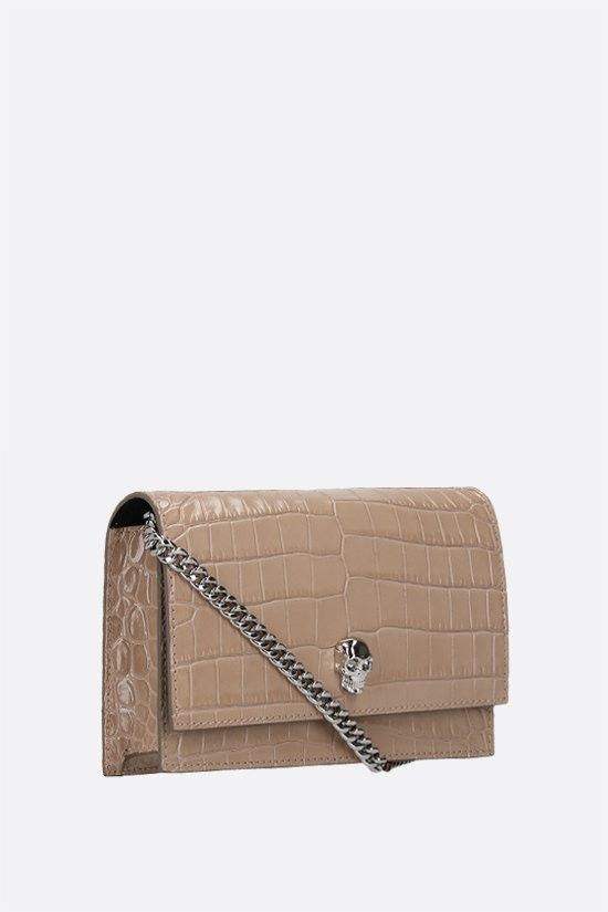 ALEXANDER McQUEEN: Skull mini crocodile embossed leather crossbody bag Color Pink_2
