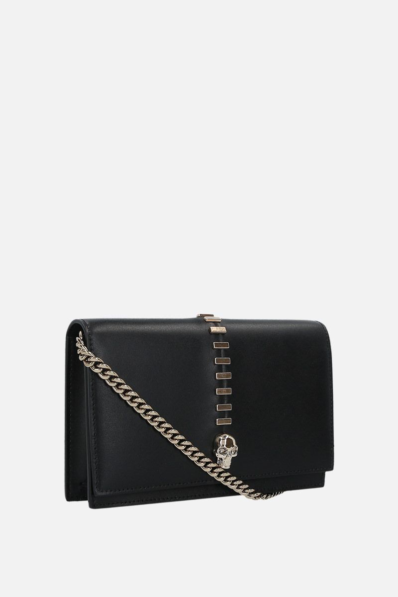 ALEXANDER McQUEEN: Skull mini studded smooth leather crossbody bag Color Black_2