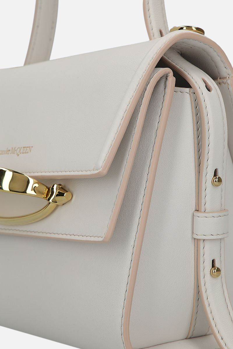 ALEXANDER McQUEEN: The Story smooth leather crossbody bag Color White_5