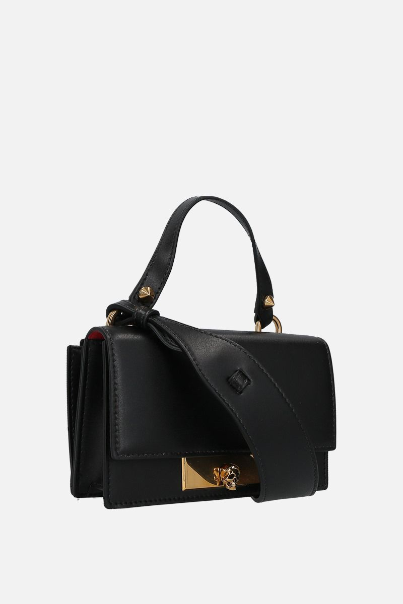ALEXANDER McQUEEN: smooth leather Skull-lock crossbody bag Color Black_2