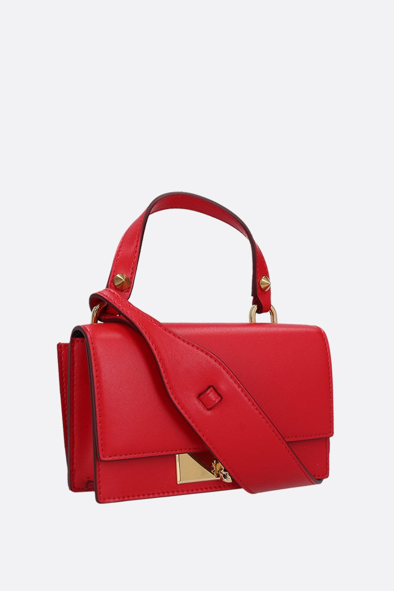 ALEXANDER McQUEEN: smooth leather Skull-lock crossbody bag Color Red_2