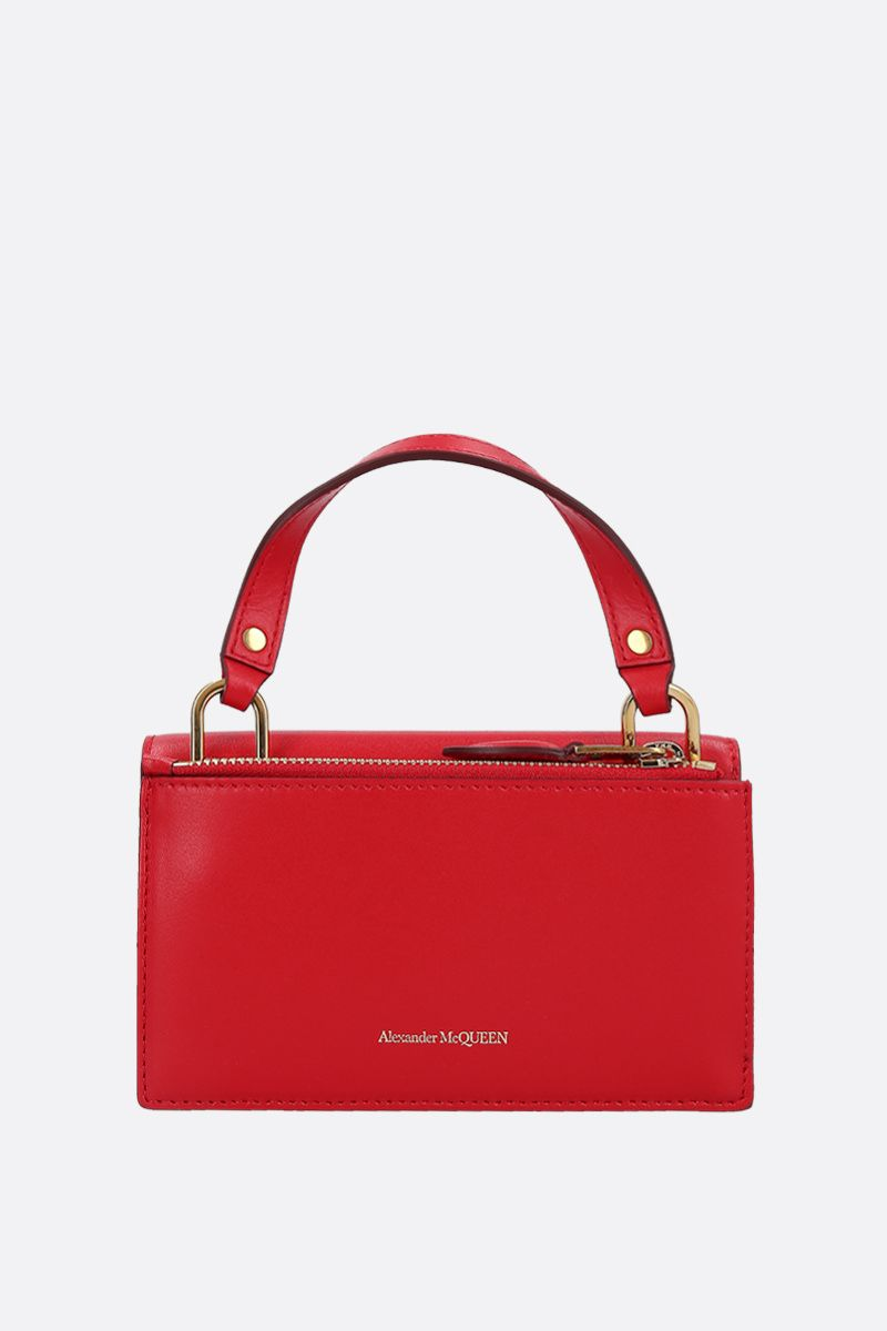 ALEXANDER McQUEEN: smooth leather Skull-lock crossbody bag Color Red_3