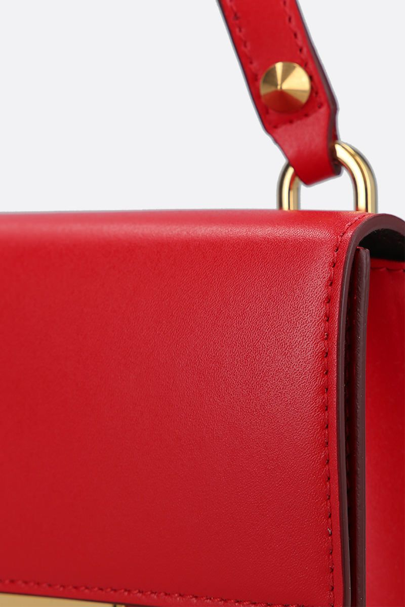 ALEXANDER McQUEEN: smooth leather Skull-lock crossbody bag Color Red_4