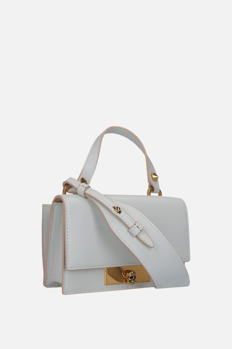 ALEXANDER McQUEEN: smooth leather Skull-lock bag Color White_2