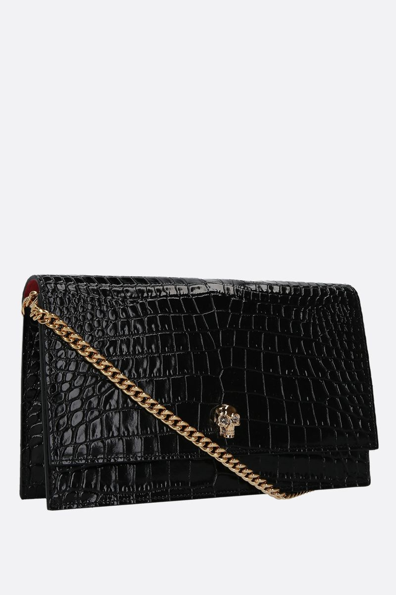 ALEXANDER McQUEEN: Skull medium crocodile embossed leather crossbody bag Color Black_2