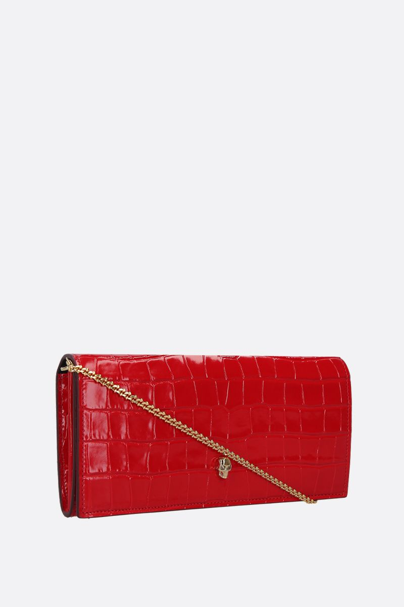 ALEXANDER McQUEEN: crocodile embossed leather wallet on chain Color Red_2