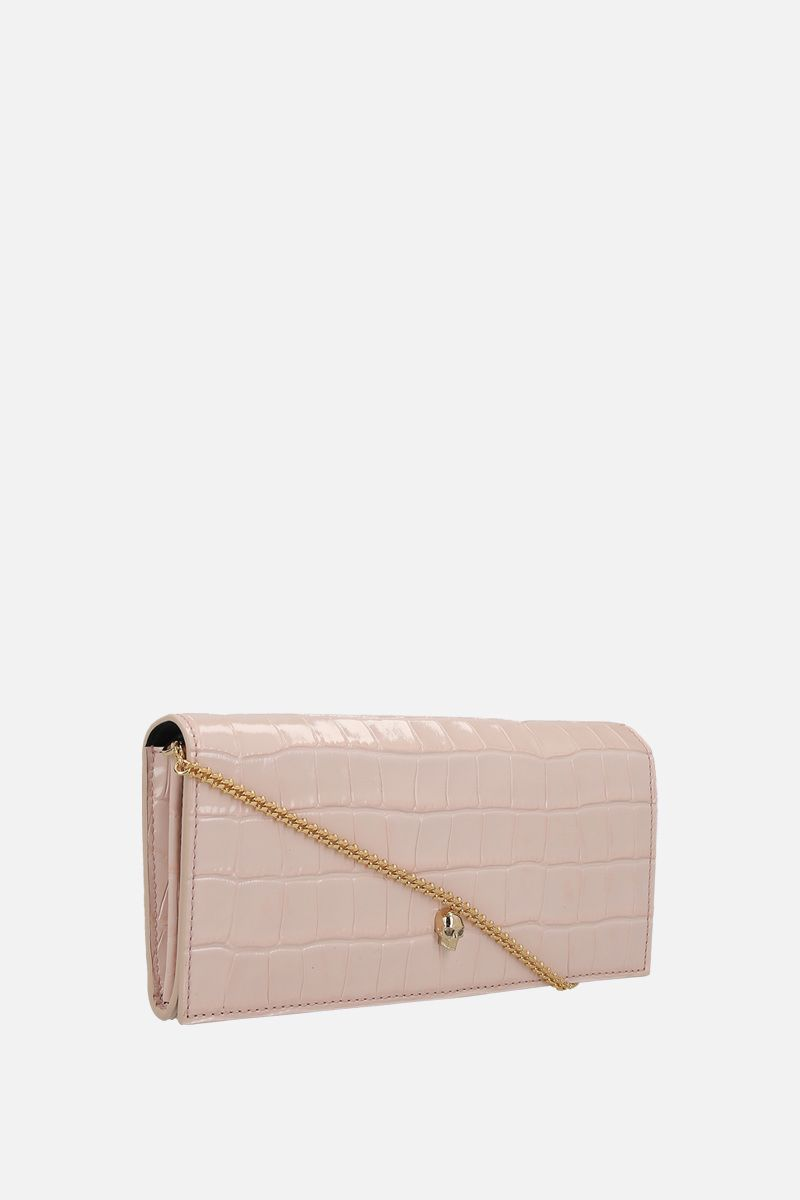 ALEXANDER McQUEEN: crocodile embossed leather wallet on chain_2