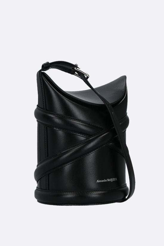 ALEXANDER McQUEEN: The Curve small smooth leather bucket bag Color Black_2
