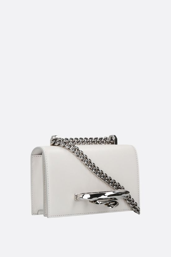 ALEXANDER McQUEEN: Sculptural Jewelled Satchel mini smooth leather crossbody bag Color White_2
