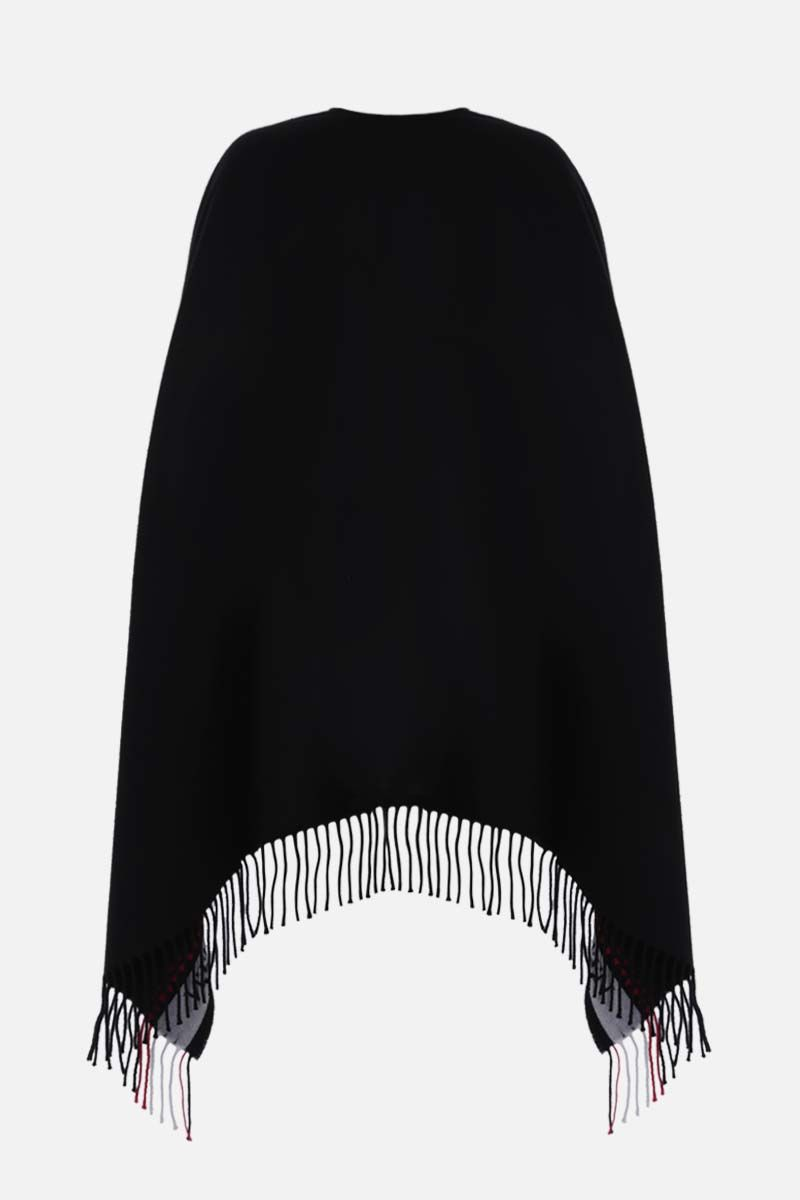 ALEXANDER McQUEEN: logo and heart-detailed wool cashmere blend cape Color Black_2