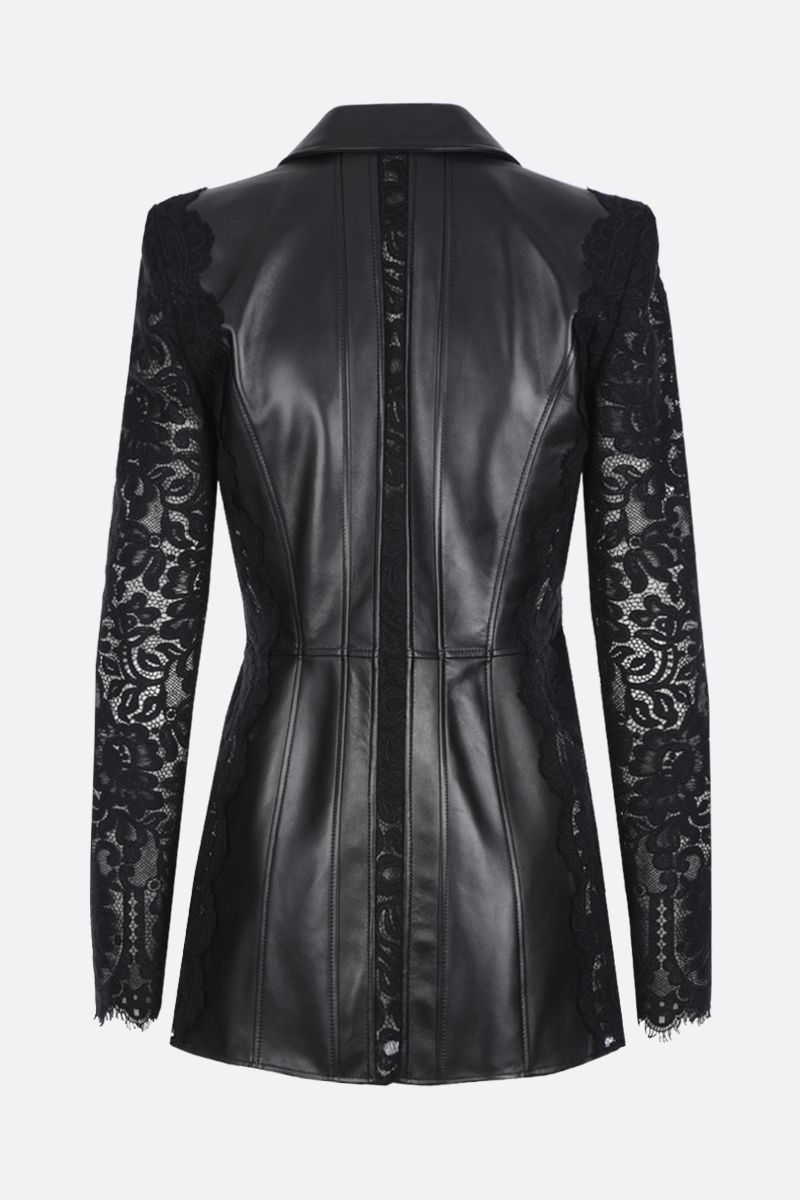 ALEXANDER McQUEEN: leather and lace single-breasted jacket Color Black_2