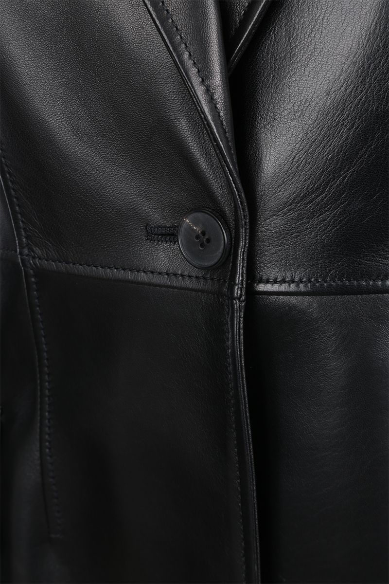 ALEXANDER McQUEEN: leather and lace single-breasted jacket Color Black_3