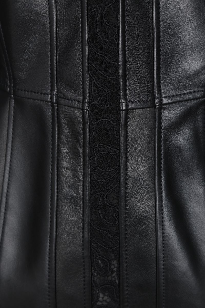 ALEXANDER McQUEEN: leather and lace single-breasted jacket Color Black_4