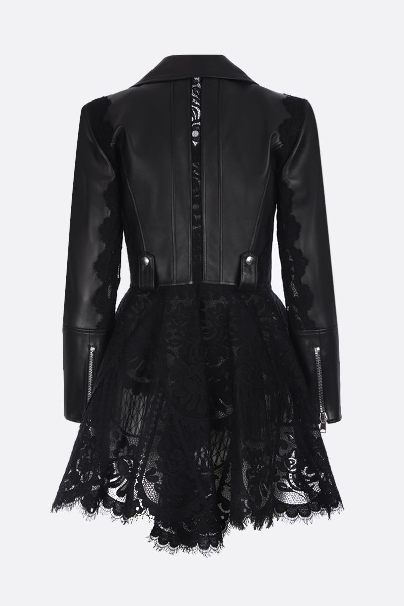 ALEXANDER McQUEEN: nappa leather and lace peplum jacket Color Black_2