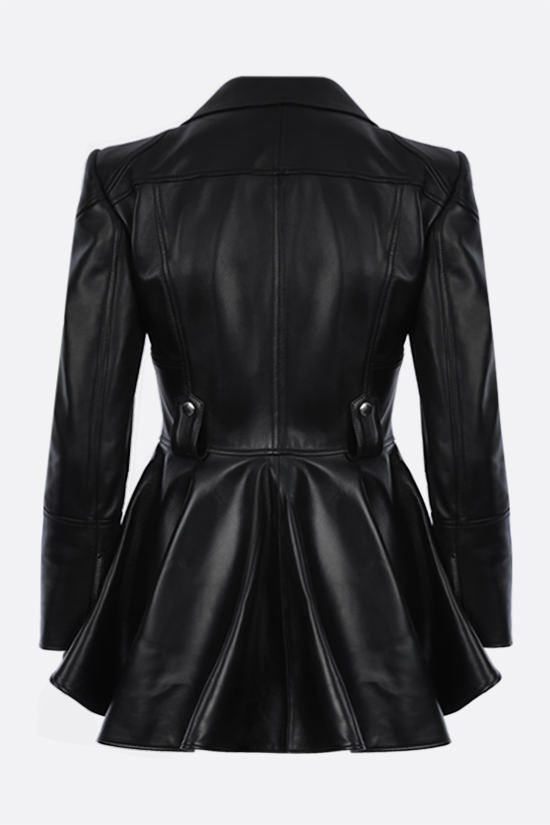 ALEXANDER McQUEEN: peplum hem-detailed nappa biker jacket Color Black_2