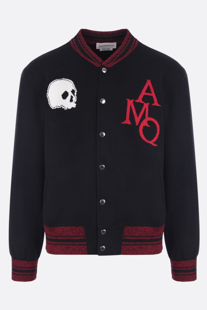 ALEXANDER McQUEEN: AMQ intarsia cotton bomber jacket Color Multicolor_1