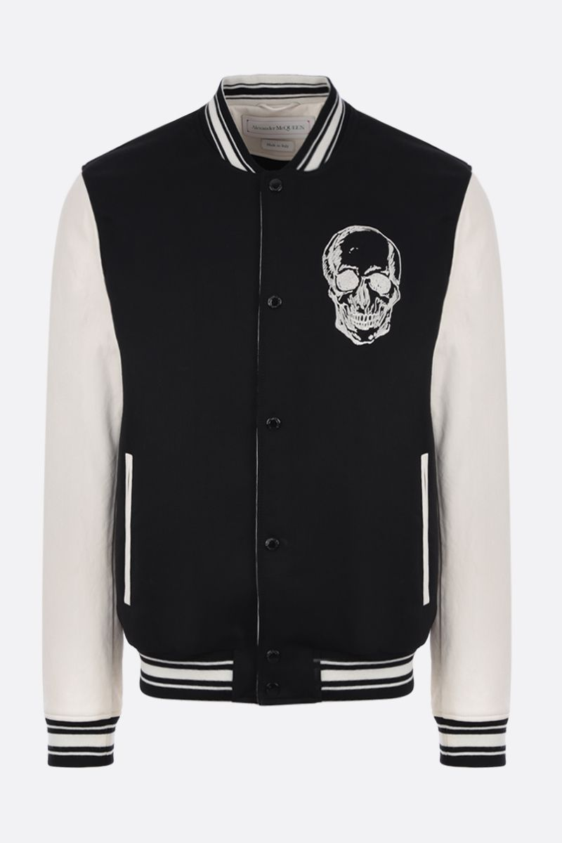 ALEXANDER McQUEEN: wool bomber jacket with leather sleeves Color White_1