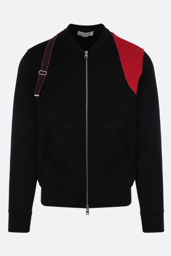 ALEXANDER McQUEEN: Harness-detailed technical jersey bomber jacket Color Black_1
