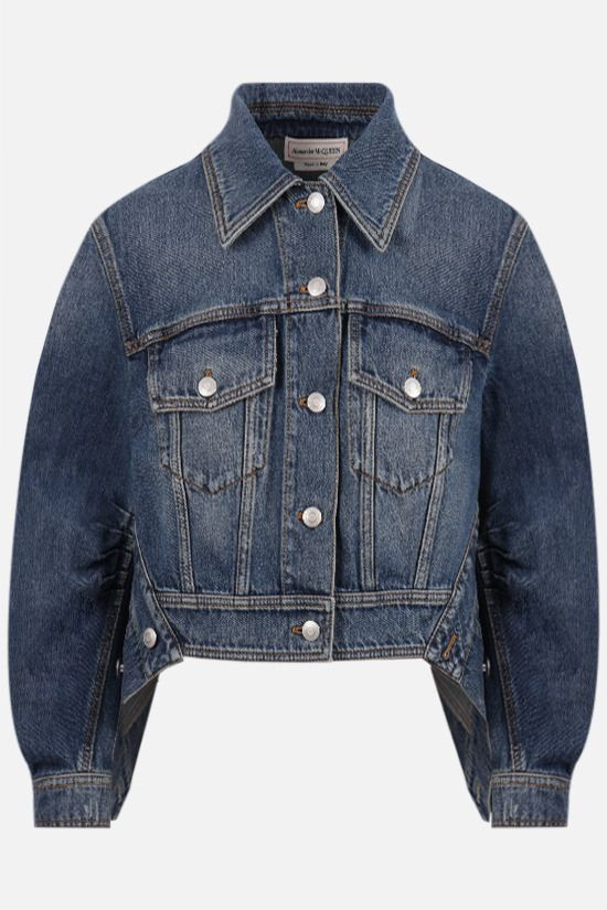 ALEXANDER McQUEEN: cocoon sleeve cropped denim jacket Color Blue_1