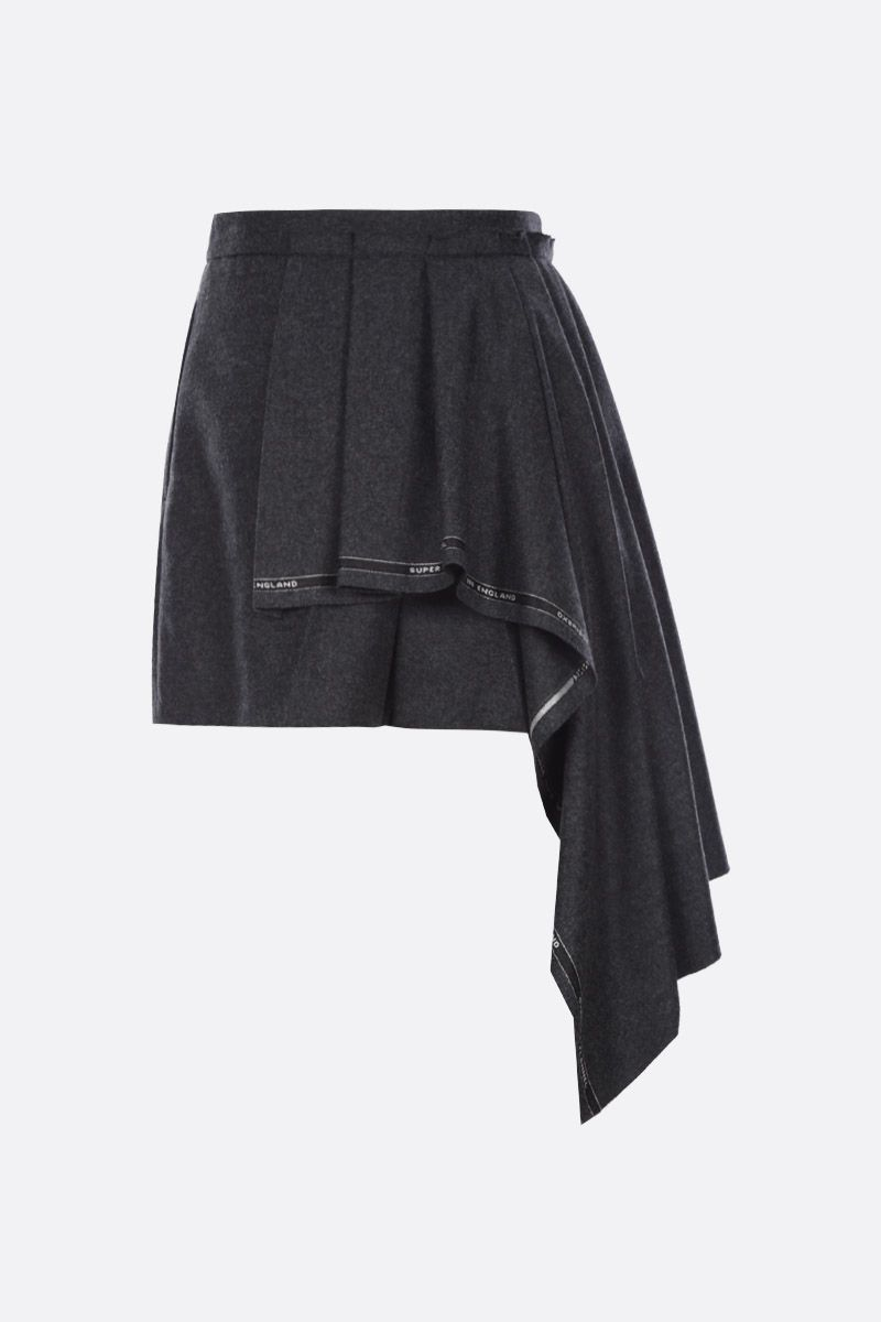 ALEXANDER McQUEEN: flannel shorts with draped panel Color Black_2