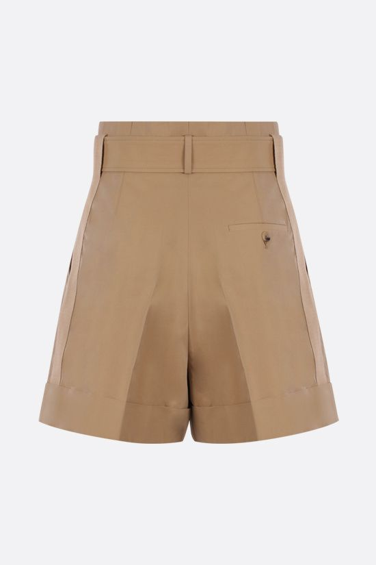 ALEXANDER McQUEEN: darted cotton shorts Color Brown_2