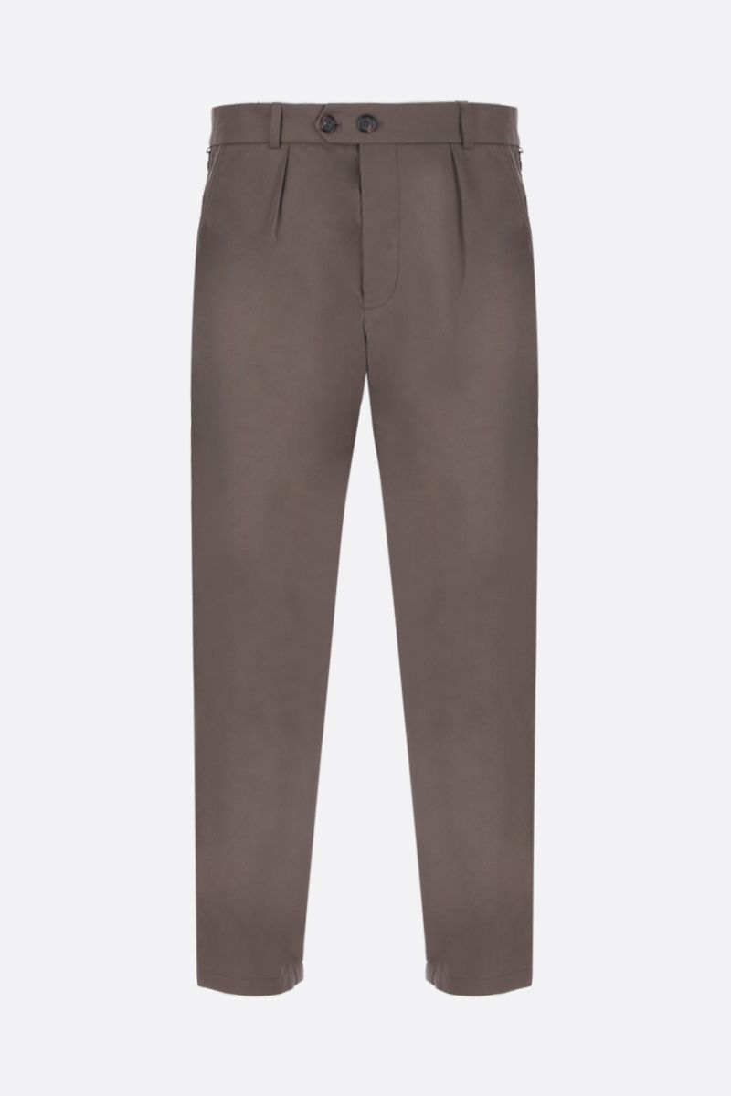 ALEXANDER McQUEEN: cotton cropped pants with contrasting bands Color Brown_1