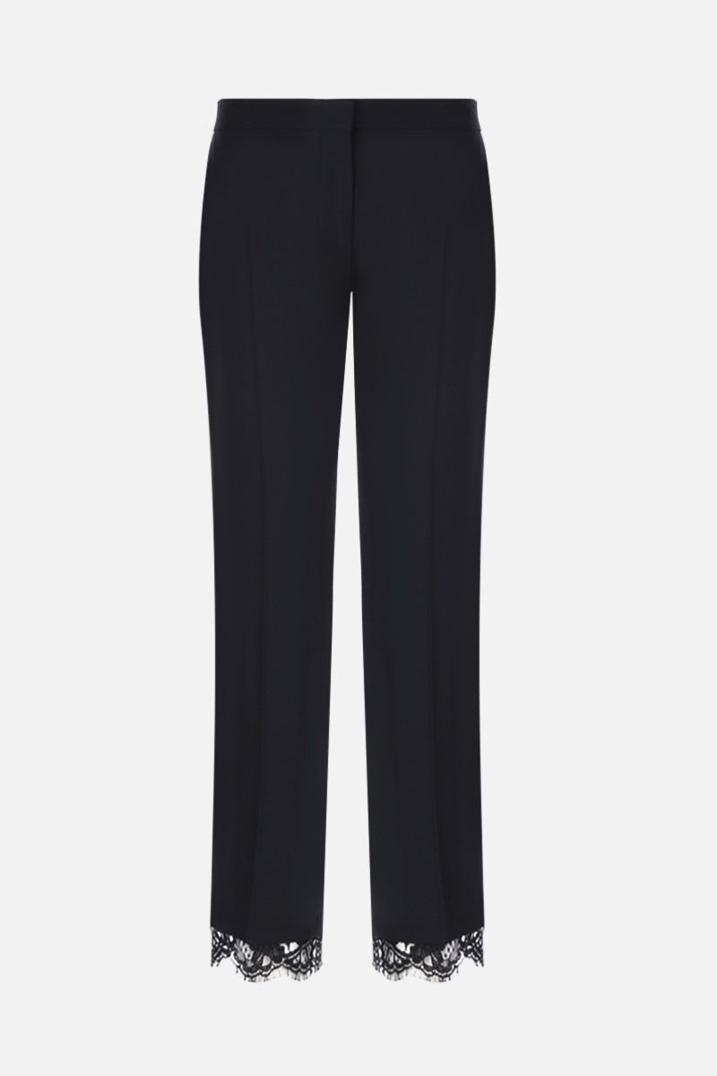 ALEXANDER McQUEEN: cady cropped pants with lace hem Color Black_1