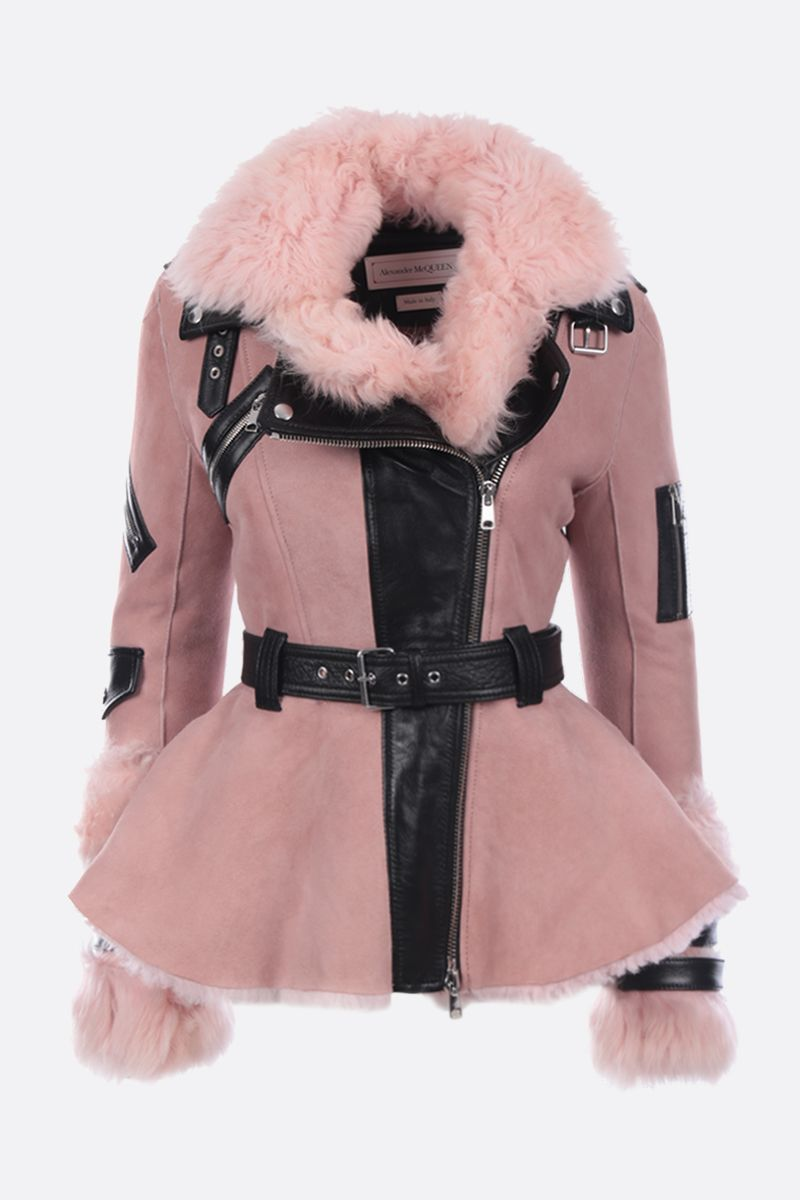 ALEXANDER McQUEEN: biker jacket in shearling and leather_1