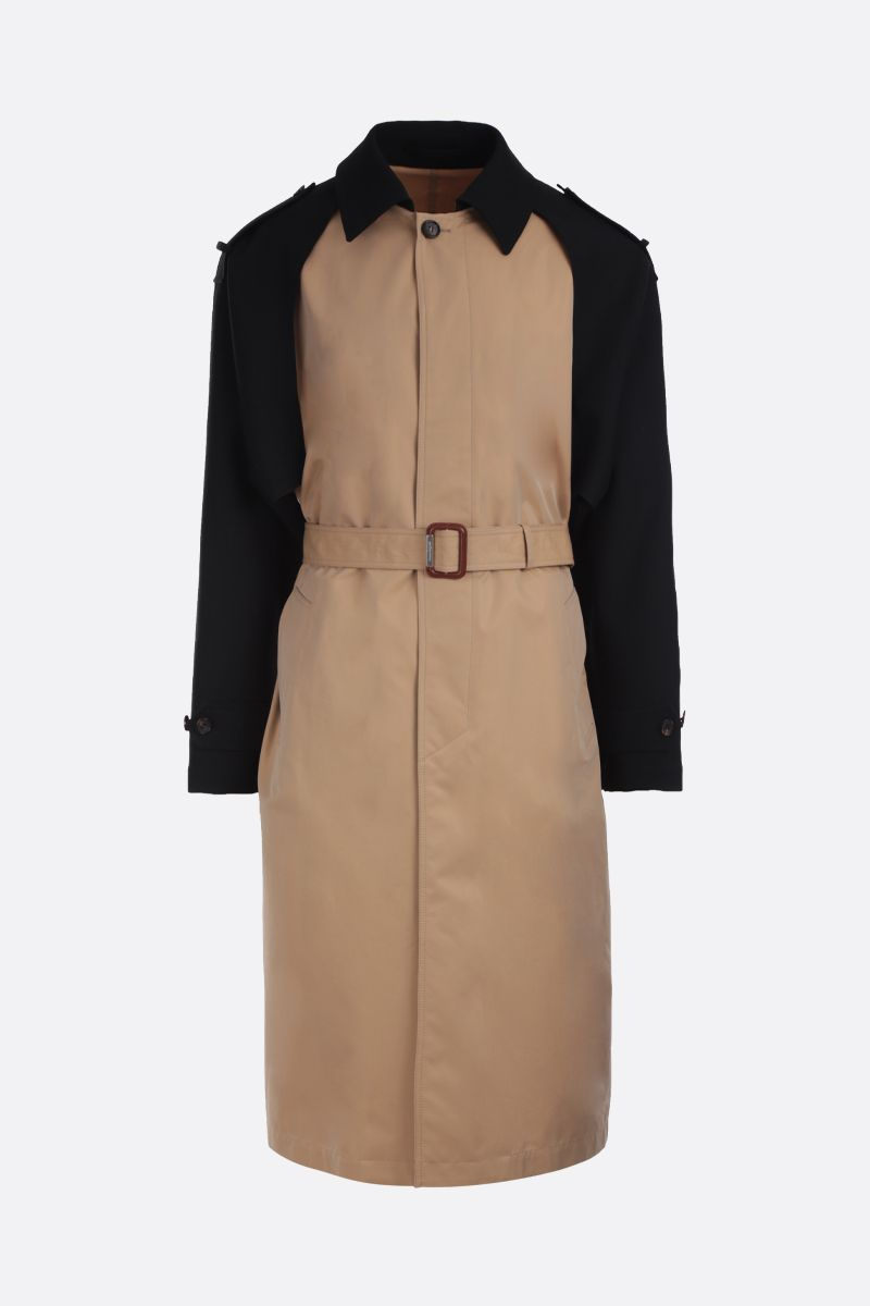 ALEXANDER McQUEEN: gabardine single-breasted trench coat Color Neutral_1