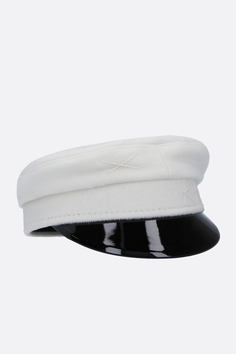 RUSLAN BAGINSKIY: wool felt baker boy cap Color White_2