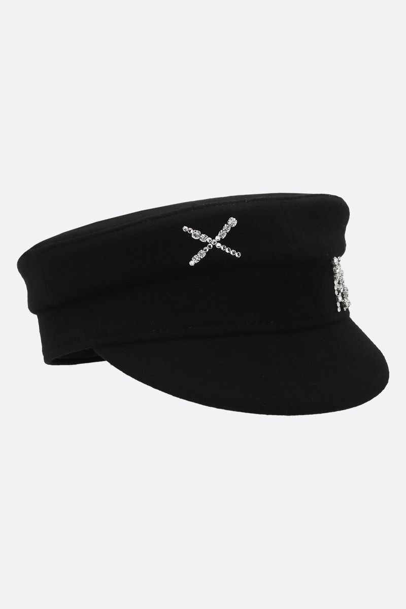 RUSLAN BAGINSKIY: wool felt baker boy cap Color Black_2