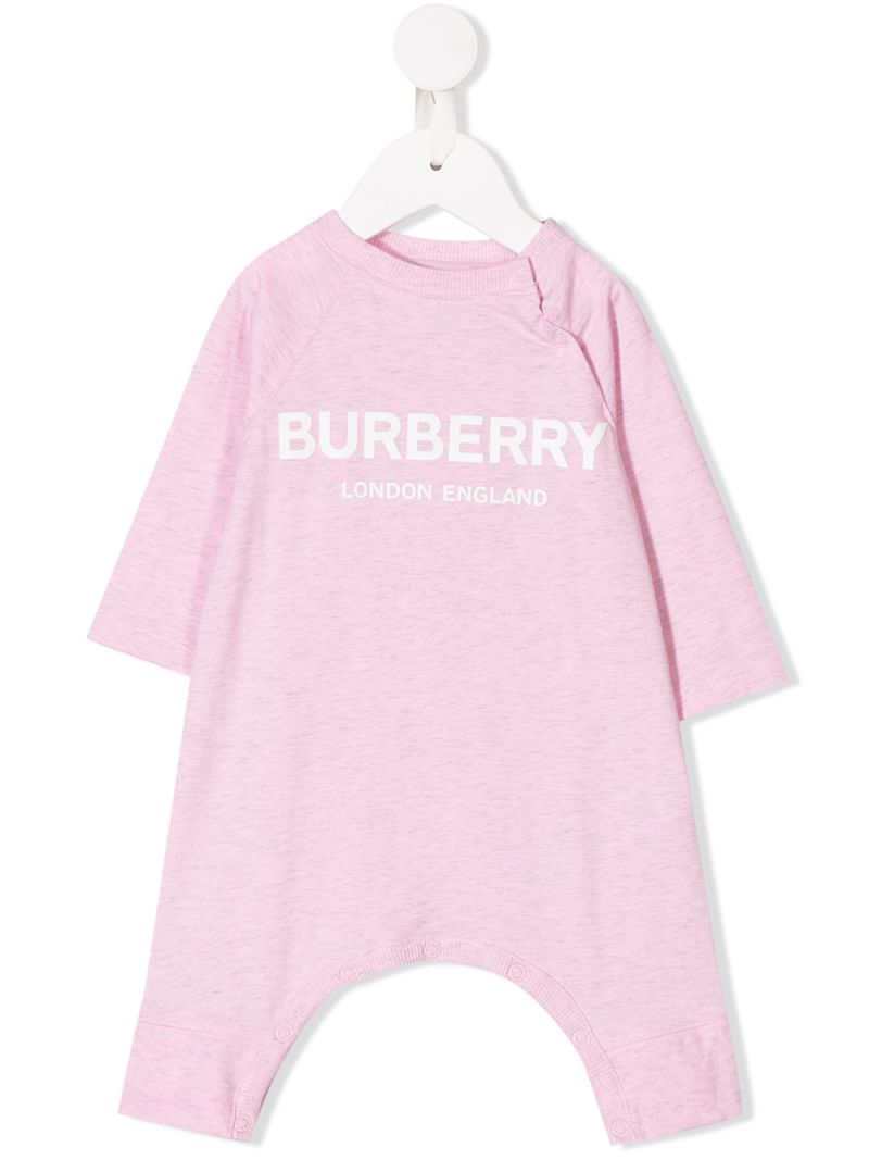BURBERRY CHILDREN: logo print cotton playsuit Color Pink_1