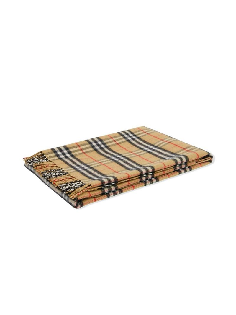 BURBERRY CHILDREN: Vintage check merino wool blanket Color Brown_1