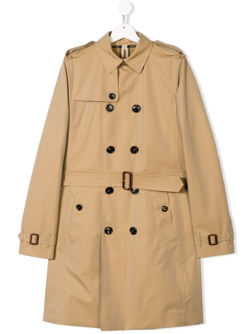 BURBERRY CHILDREN: gabardine double-breasted trench coat Color Yellow_1