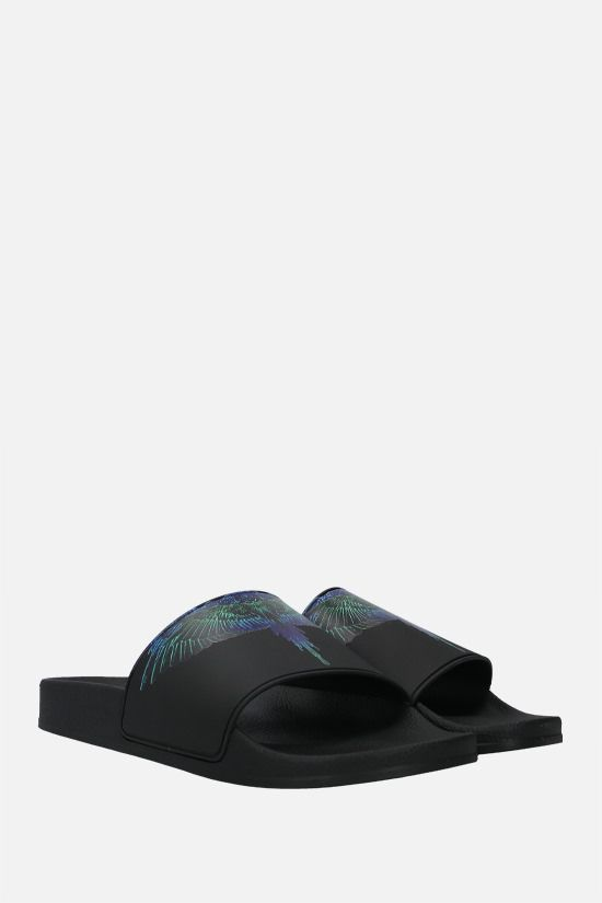 MARCELO BURLON COUNTY OF MILAN: Wings rubber slide sandals Color Black_2