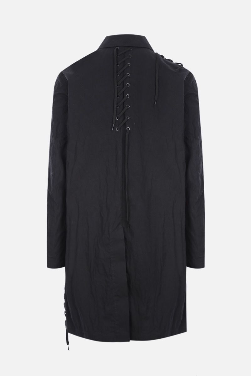 CRAIG GREEN: lace-detailed technical cotton overcoat Color Black_2
