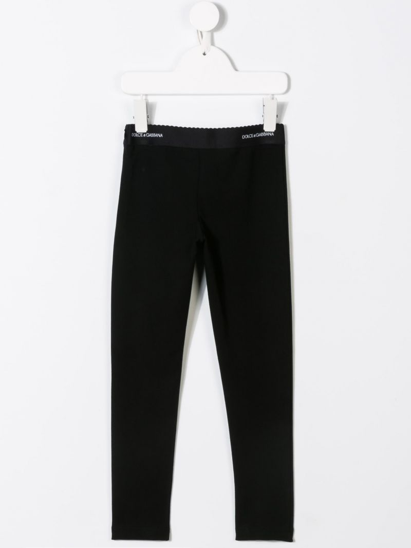 DOLCE & GABBANA CHILDREN: jersey leggings with jacquard logo Color Black_2