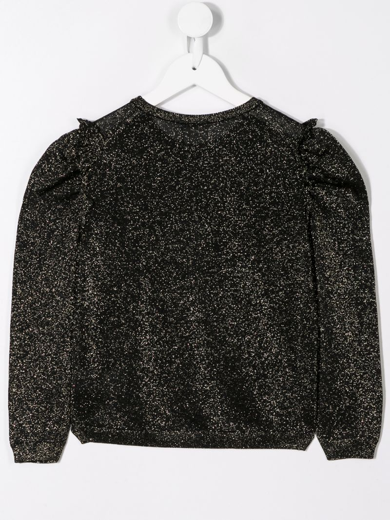 DOLCE & GABBANA CHILDREN: lurex pullover with ruched detail Color Black_2