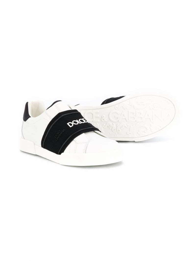 DOLCE & GABBANA CHILDREN: Portofino slip-on sneakers in smooth leather Color Grey_2