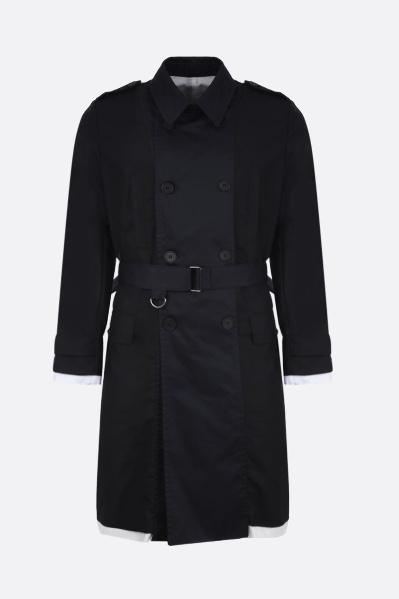 MAISON FLANEUR: wool double-breasted trench coat with cotton inserts Color Black_1