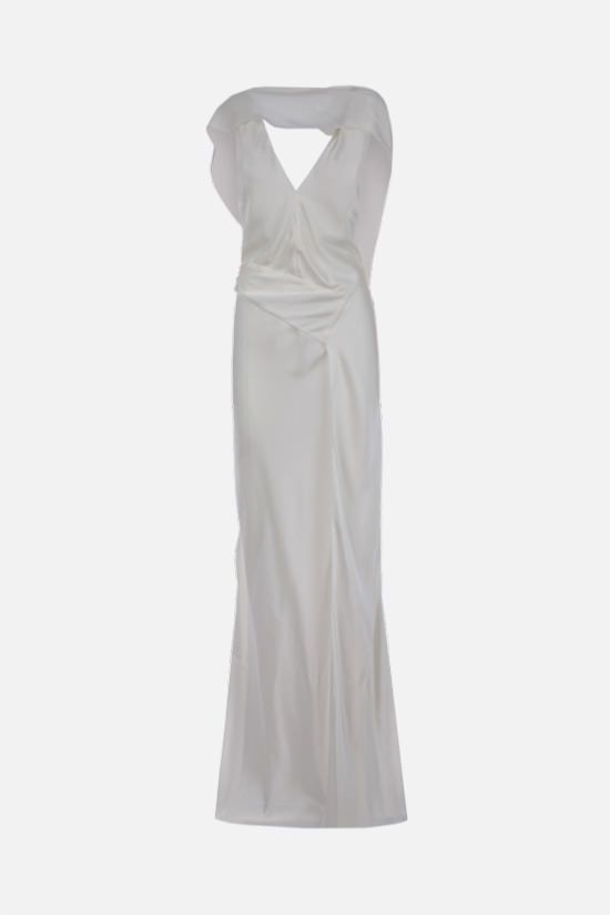 JOHN GALLIANO: satin unstructured long dress Color White_1