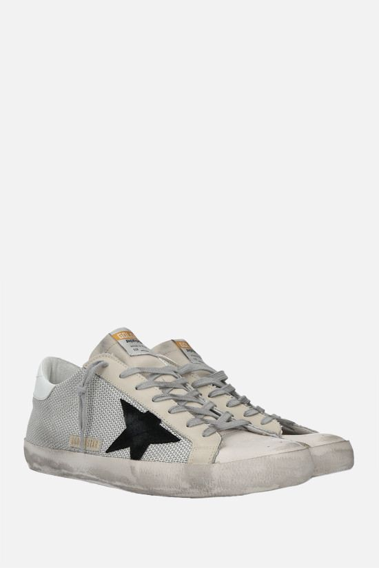GOLDEN GOOSE DELUXE BRAND: Superstar mesh and smooth leather sneakers Color White_2