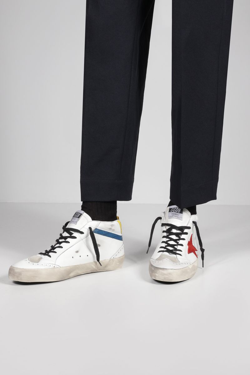 GOLDEN GOOSE DELUXE BRAND: Mid Star smooth leather sneakers Color Multicolor_2