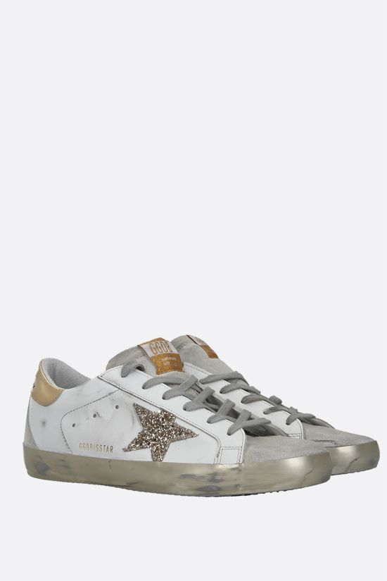 GOLDEN GOOSE DELUXE BRAND: Superstar smooth leather and suede sneakers Color Gold_2