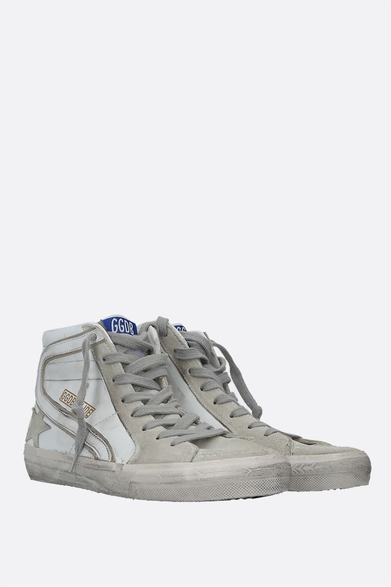 GOLDEN GOOSE DELUXE BRAND: Slide smooth leather and suede high-top sneakers Color Multicolor_2